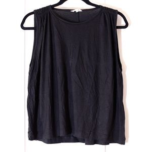 Madewell Black Sleeveless Ruched Shoulder Top